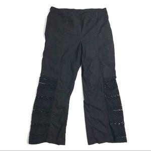 XCVI L pants wide leg black embroidered crochet